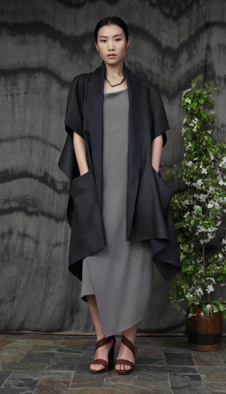 杭罗香云纱矩形剪裁多种穿法四袖披肩/ 五倍子植物手工染色吊带裙/Hang luo tea-silk rectangular cut 4 sleeves scarf/ Gallnut natural-dyed silk crepe strap dress.