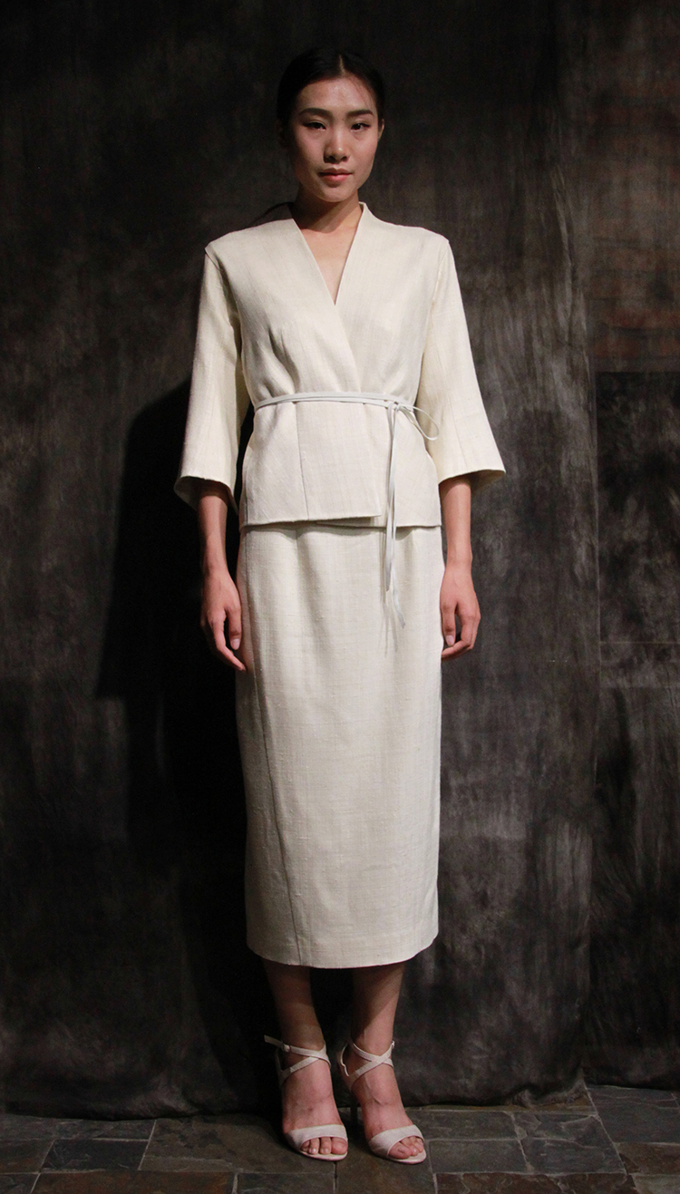 tussah silk ensemble/ 白色榨蚕丝套装