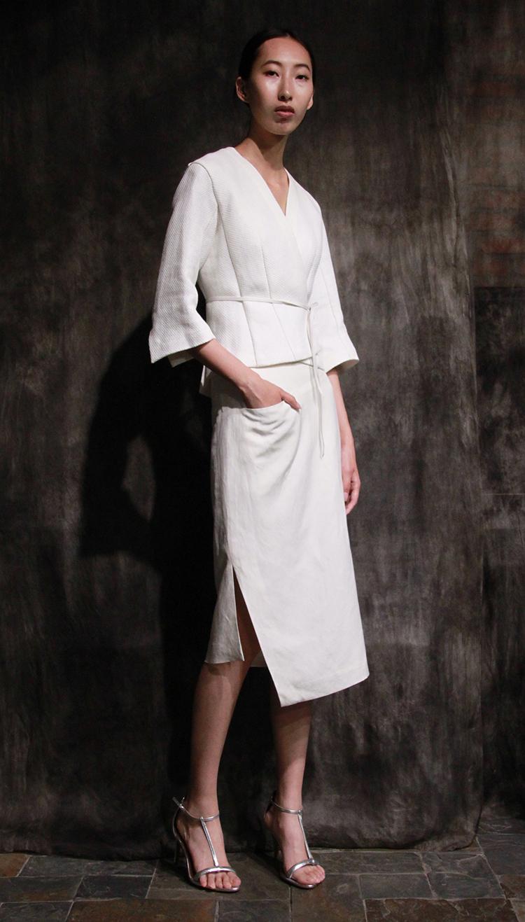 washi paper jacket, linen silk skirt/ 和纸夹克,丝麻斜裁不对称半身裙