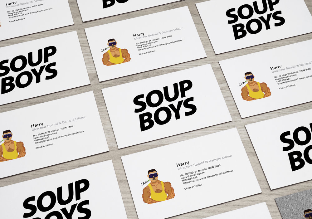 – Team Business cards featuring collective member portraits.