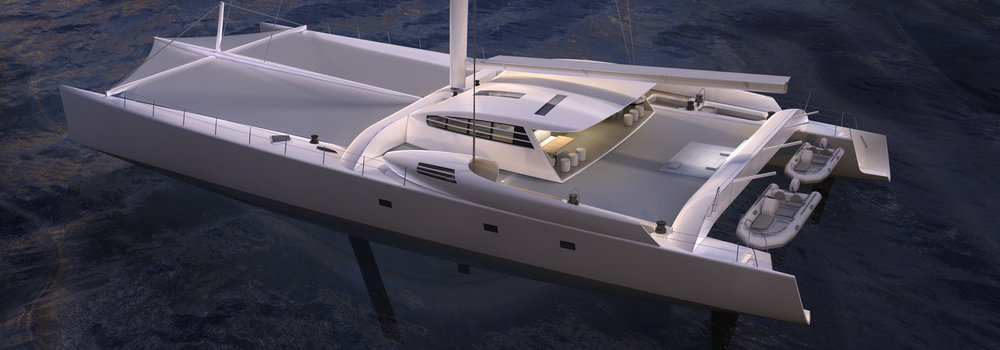 La catamaran Vitalia, dont le design de la transformation à été confié à Narrative.
