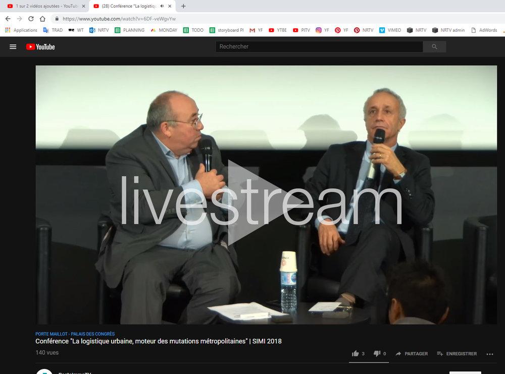 Le livestream de la conférence sur Youtube