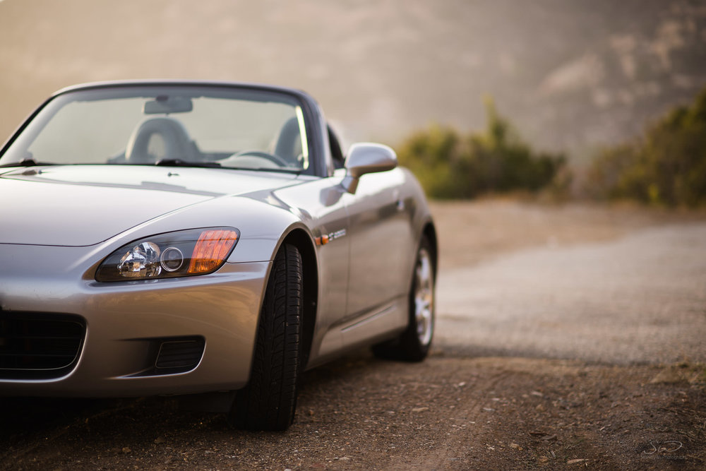 photo of honda s2000 in malibu california in golden hour