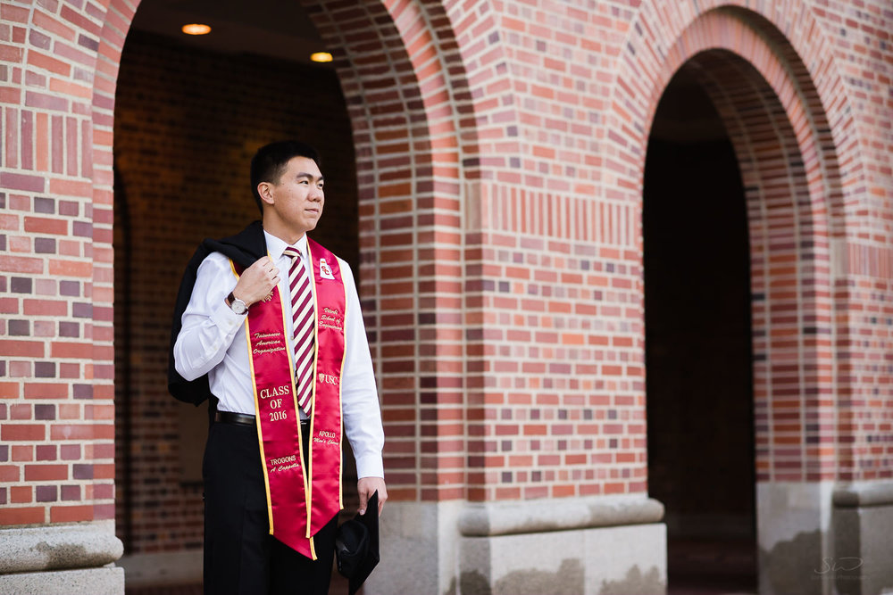 USC college senior graduate with graduation cap by Stanley Wu Photography | Portrait & Wedding Photographer serving Los Angeles, Orange County, and Southern California