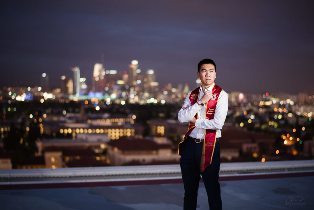 USC college senior graduate rooftop night portrait by Stanley Wu Photography | Portrait & Wedding Photographer serving Los Angeles, Orange County, and Southern California