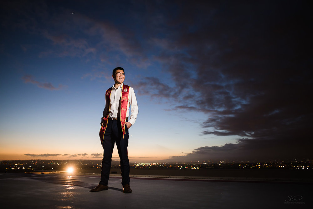 USC college senior graduate epic twilight portrait by Stanley Wu Photography | Portrait & Wedding Photographer serving Los Angeles, Orange County, and Southern California
