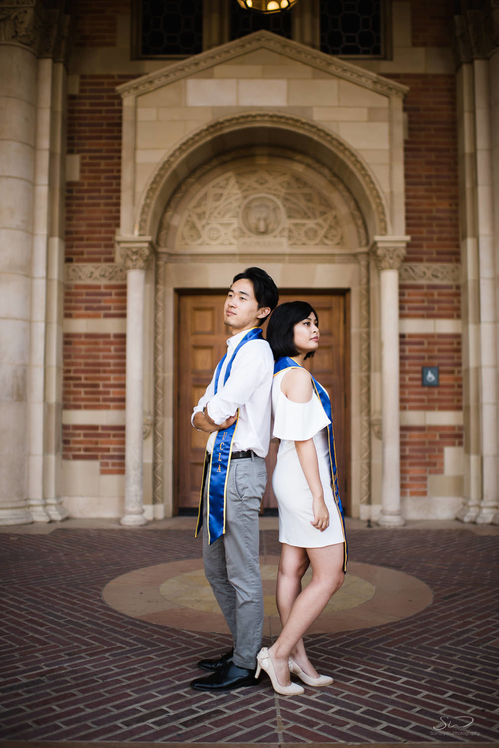 Copy of Copy of couple posing under arches in royce hall  | Stanley Wu Photography | Los Angeles | Graduation Portraits | UCLA, USC, LMU, Pepperdine, CSULA, CSUN, CSULB, UCI, UCSD