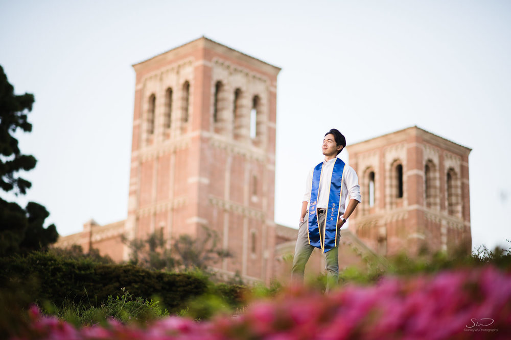 Copy of Copy of epic pose of a guy overlooking campus | Stanley Wu Photography | Los Angeles | Graduation Portraits | UCLA, USC, LMU, Pepperdine, CSULA, CSUN, CSULB, UCI, UCSD