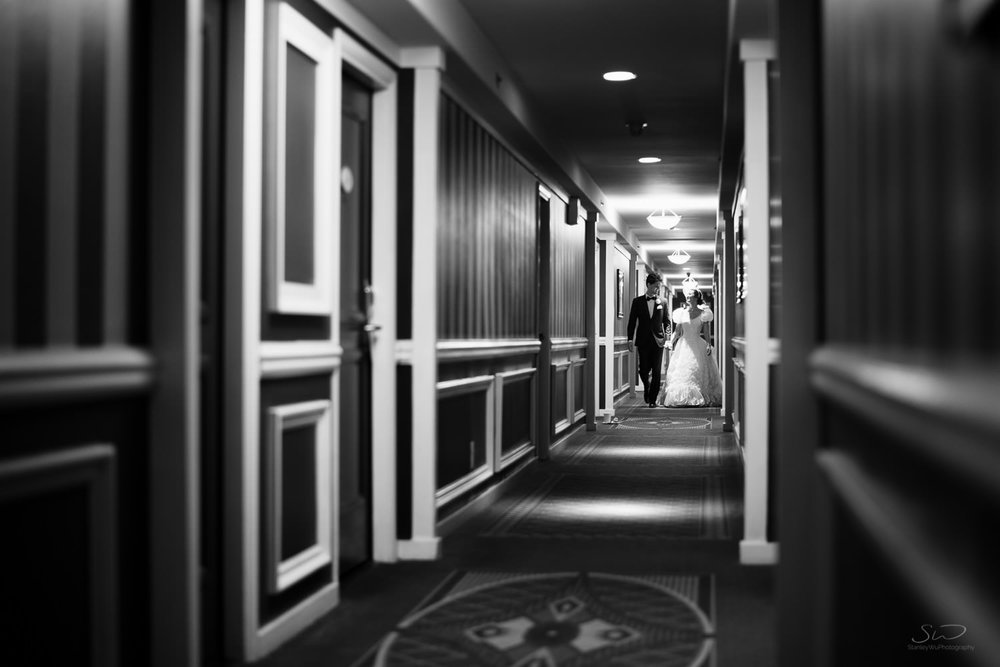 Hotel Portofino Hallway Couple. Los Angeles and Orange County Engagement and Wedding Photographer.
