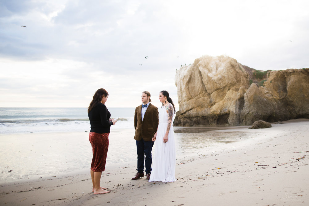 Malibu beach wedding and elopement. Los Angeles and Orange County Engagement and Wedding Photographer.