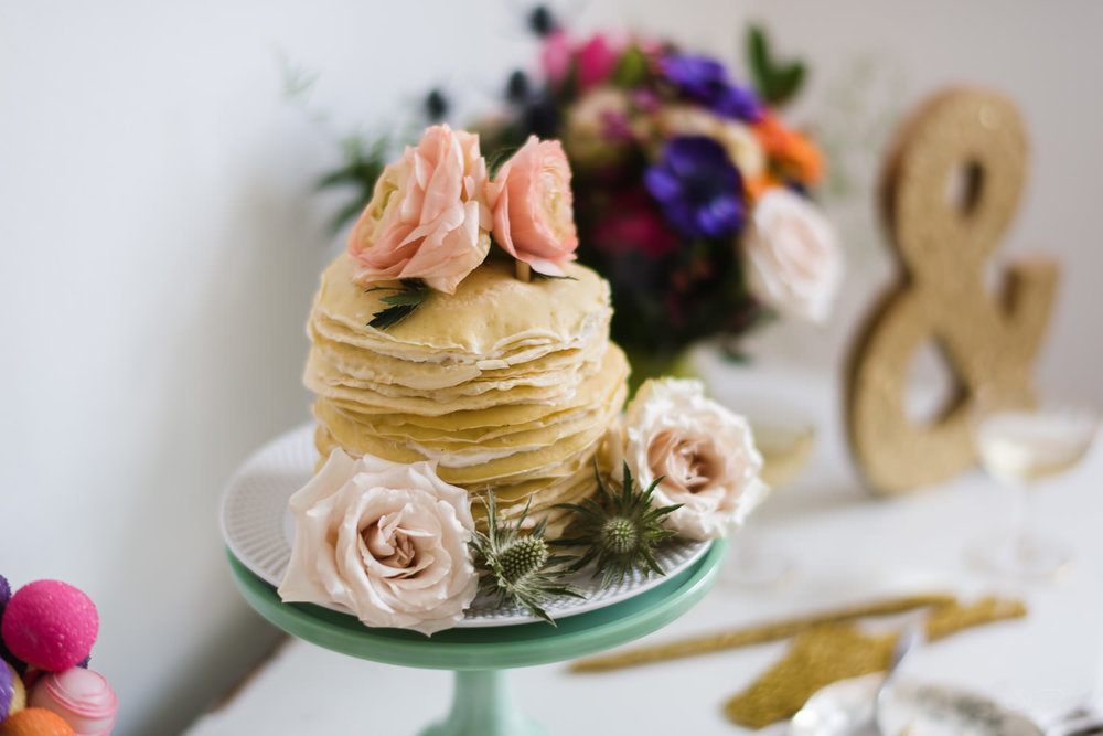 Pancake Wedding Cake at York Manor Highland Park Wedding. Los Angeles and Orange County Engagement and Wedding Photographer.