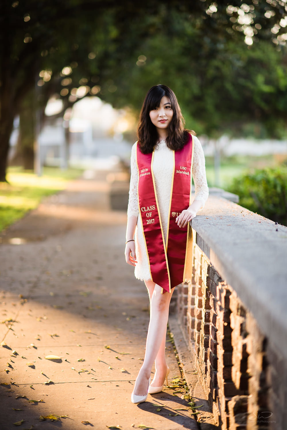 Portrait at Rose Garden at USC. Best graduation portrait photography, Los Angeles.