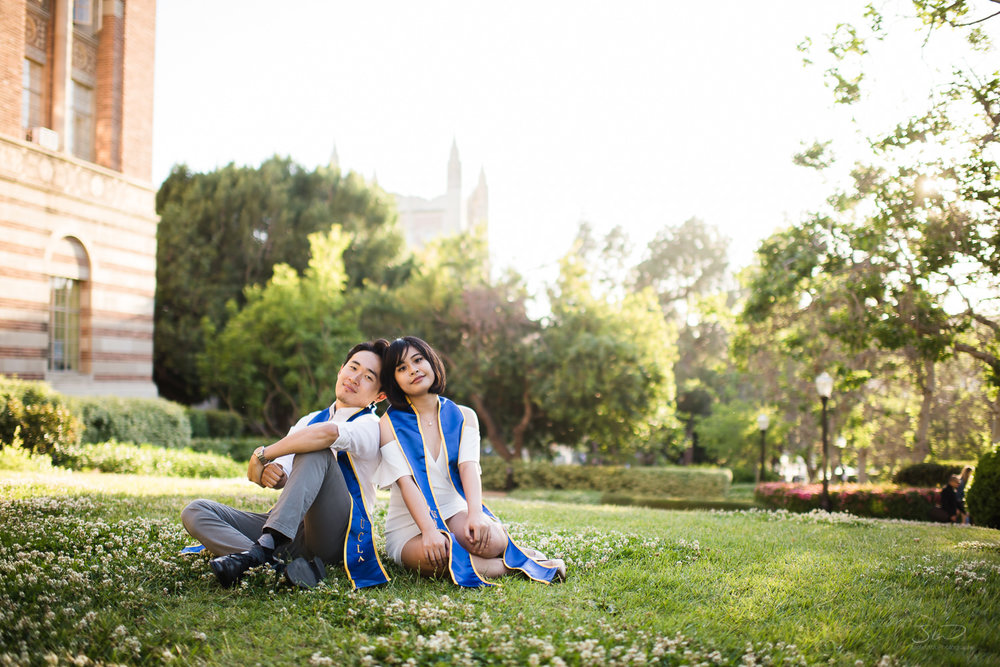 Sweet couple at UCLA.  Best graduation portrait photography, Los Angeles.