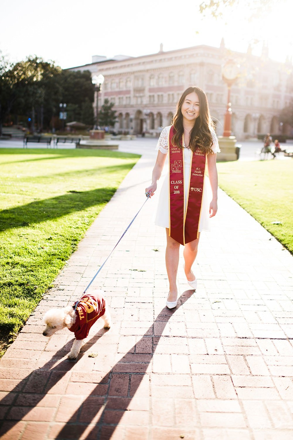 Dog-walking at USC | Los Angeles Orange County Senior Portrait & Wedding Photographer