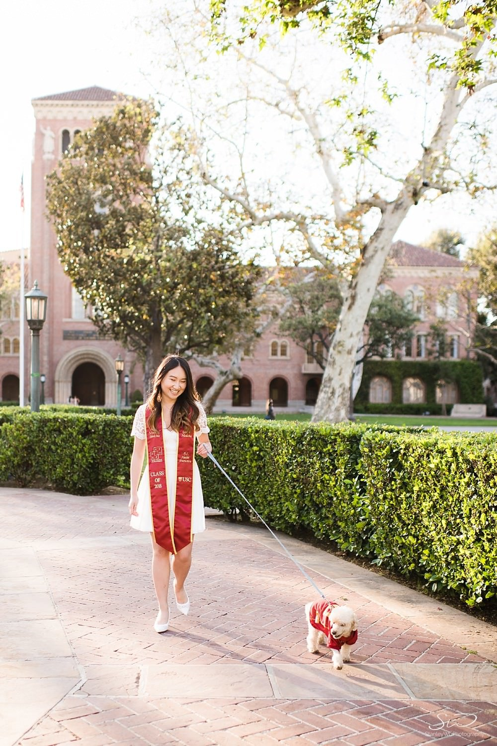 Walking dog at USC | Los Angeles Orange County Senior Portrait & Wedding Photographer