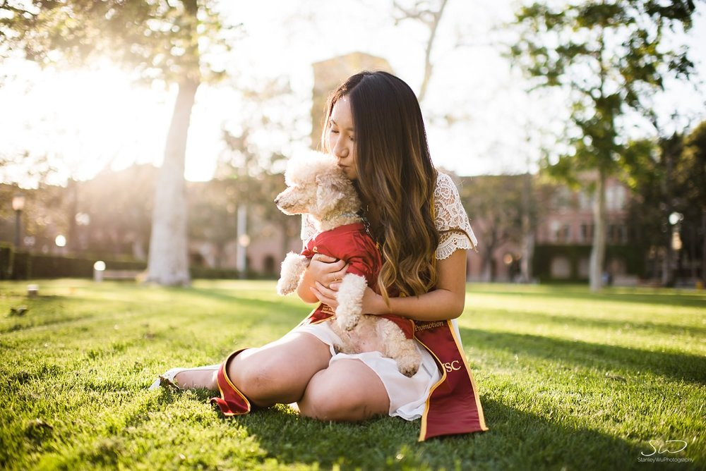Portrait and pet photography with a poodle at USC | Los Angeles Orange County Senior Portrait & Wedding Photographer