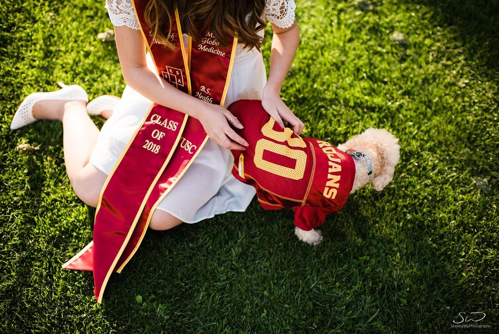 Collegiate apparel for dogs, poodles at USC | Los Angeles Orange County Senior Portrait & Wedding Photographer