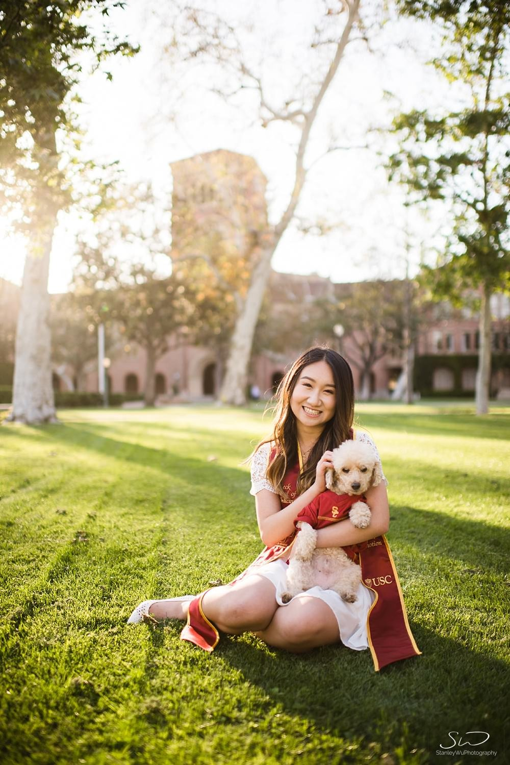 Graduation portrait and pet photography at USC | Los Angeles Orange County Senior Portrait & Wedding Photographer