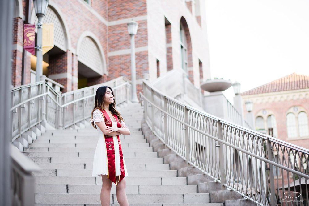 Steps of Troy graduation portrait at USC | Los Angeles Orange County Senior Portrait & Wedding Photographer
