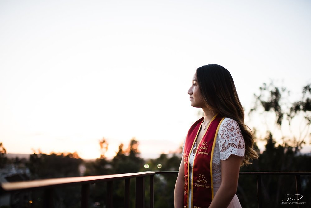 Rooftop sunset graduation photo at USC | Los Angeles Orange County Senior Portrait & Wedding Photographer