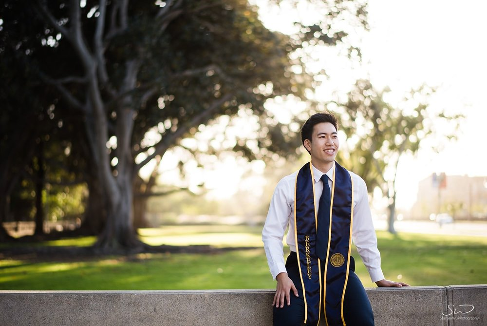UC Berkeley senior wearing graduation stole and sash | Los Angeles Graduation and Senior Portrait Photographer