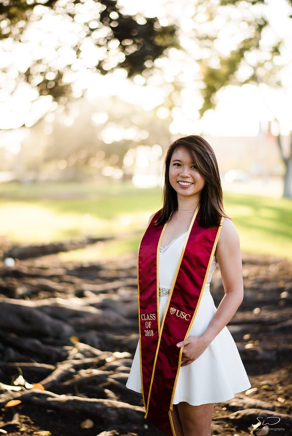 Portrait of USC senior wearing graduation stole | Los Angeles Graduation and Senior Portrait Photographer