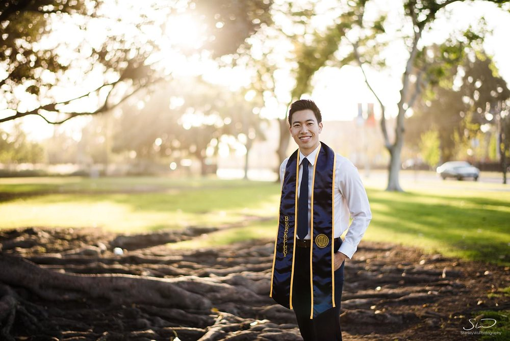 Senior from UC Berkeley wearing UCB graduation stole | Los Angeles Graduation and Senior Portrait Photographer