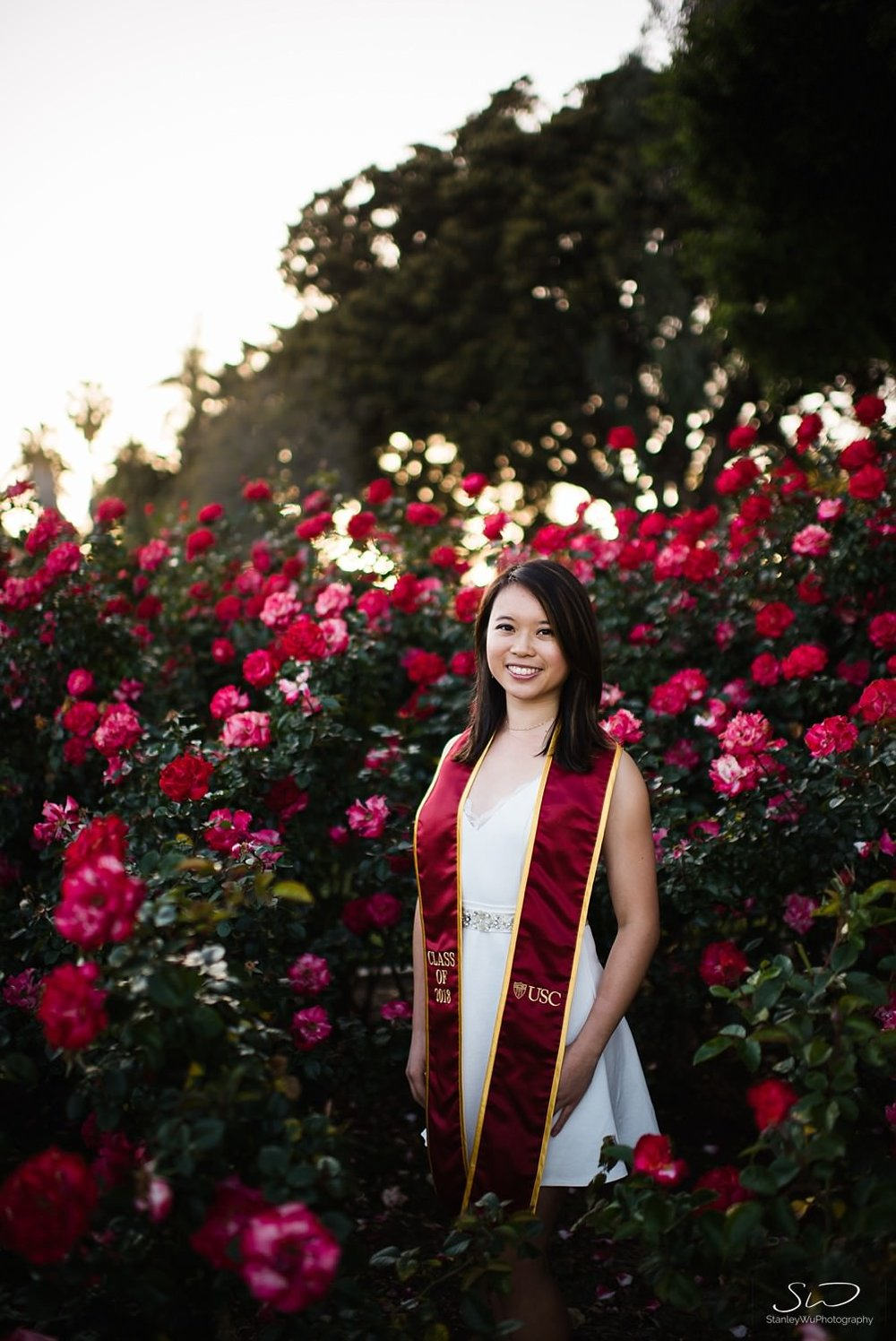 USC senior posing in Rose Garden | Los Angeles Graduation and Senior Portrait Photographer