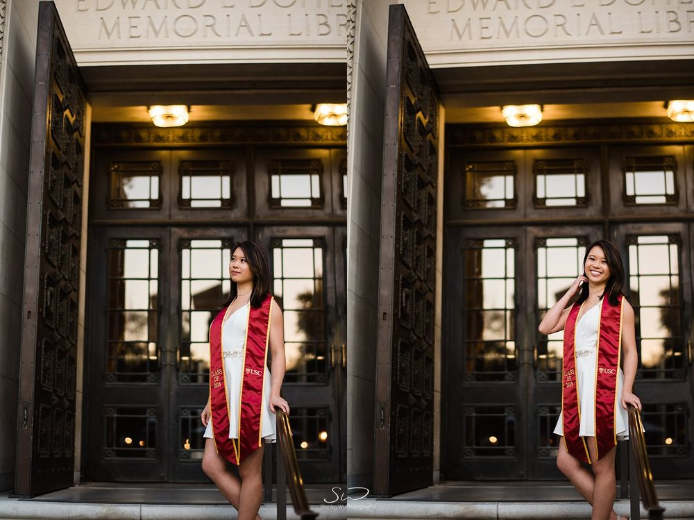 USC Senior standing in front of Doheny Library USC | Los Angeles Graduation and Senior Portrait Photographer