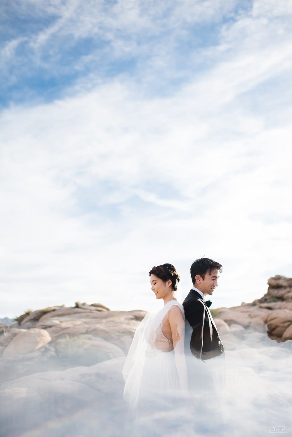 Creative reflection desert portrait of couple | Joshua Tree Desert Wedding, Engagement, Elopement, Adventure Inspiration