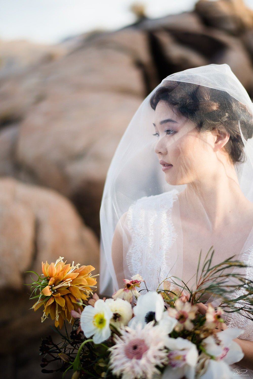 Bridal portrait with veil and bouquet | Joshua Tree Desert Wedding, Engagement, Elopement, Adventure Inspiration