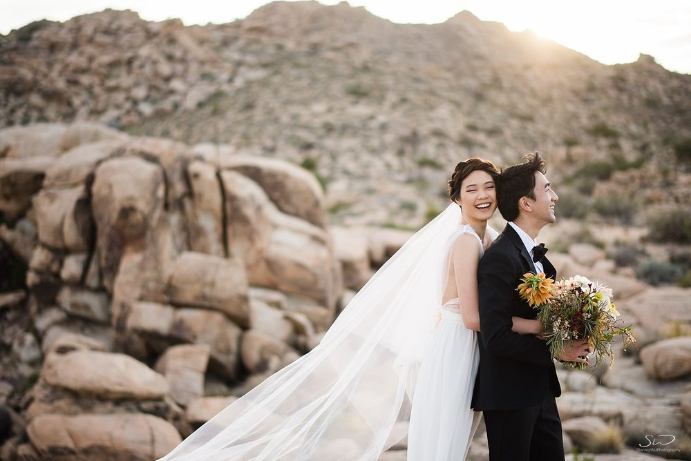 Titanic pose with bride and groom | Joshua Tree Desert Wedding, Engagement, Elopement, Adventure Inspiration
