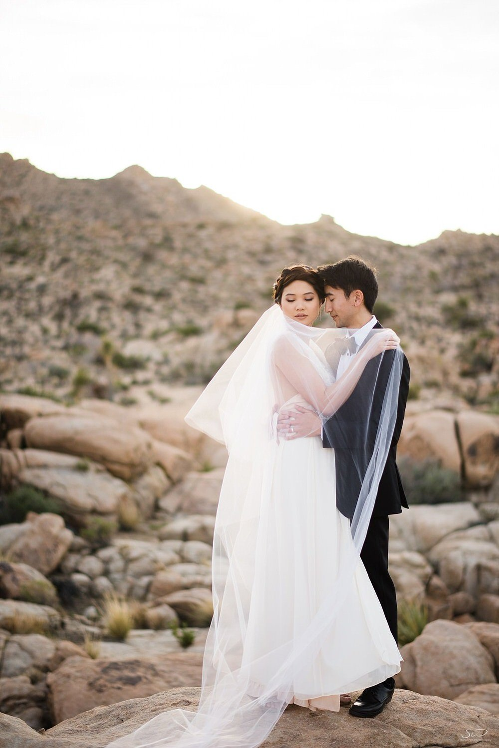 Couple hugging in desert | Joshua Tree Desert Wedding, Engagement, Elopement, Adventure Inspiration