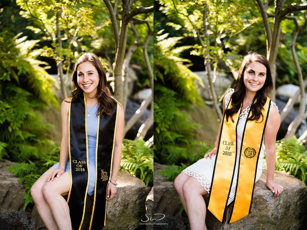 two girls smiling graduation portraits at csulb earl burns miller japanese garden