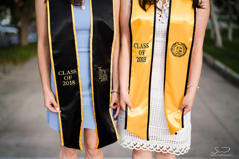 close up of stole and sash graduation portraits at csulb pyramid