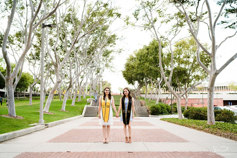 twin sisters graduation senior photos portraits at csulb