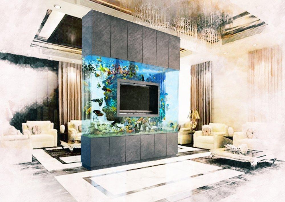 TV CONSOLE FISH TANK CONCEPT