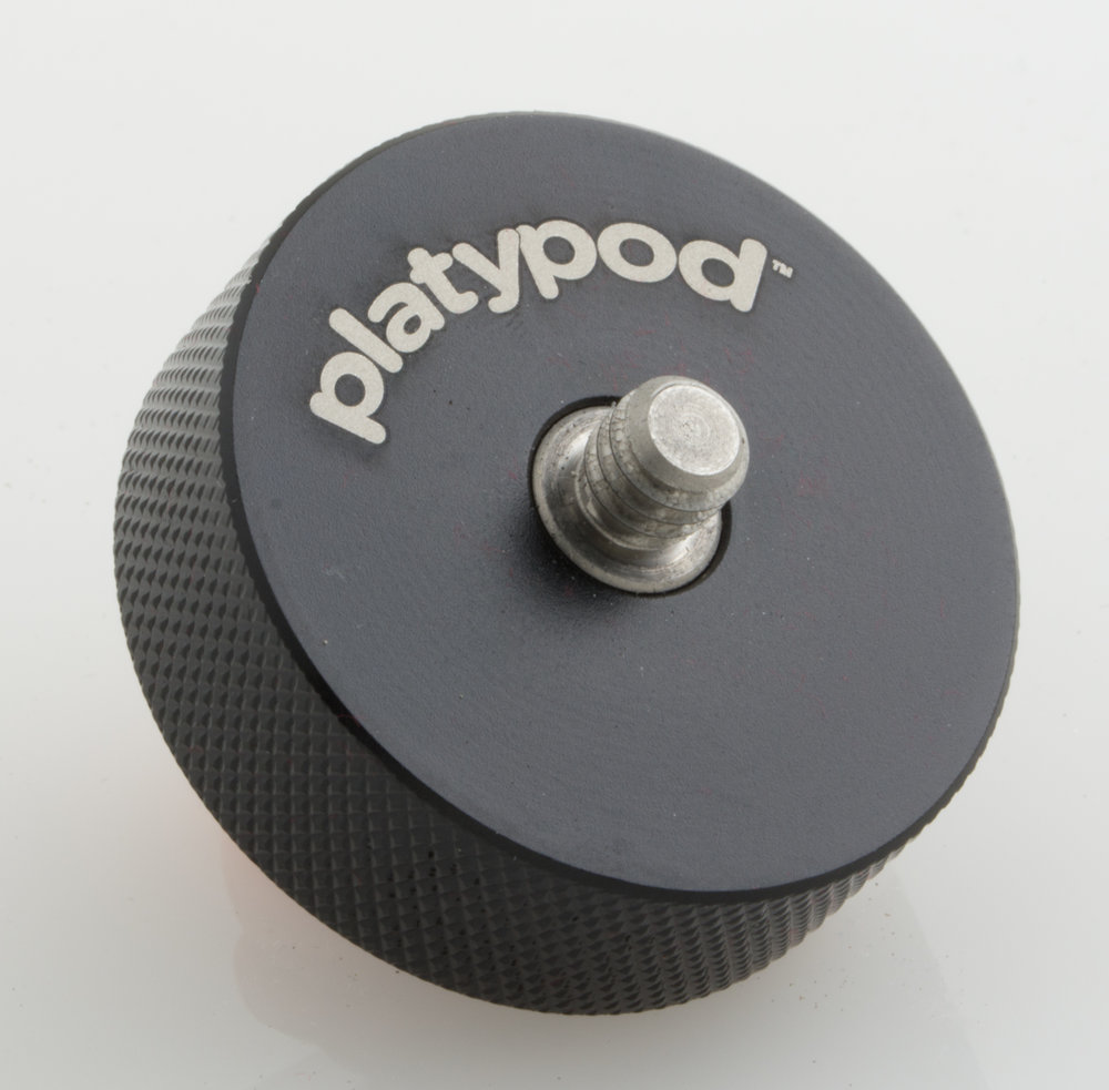 the anodized-aluminum riser - Makes your Platypod compatible with more tripod ball heads, such as smaller ball heads and those with a wing knob or lever incompatible with the flat Platypod surface (3/8