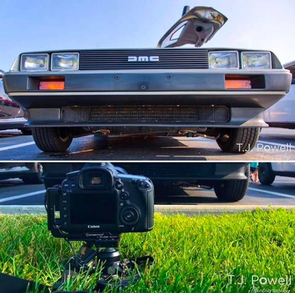 In a recent Instagram post, T.J. Powell highlighted the way he used his Platypod. Pictured is a DeLorean. Images by: T.J. Powell
