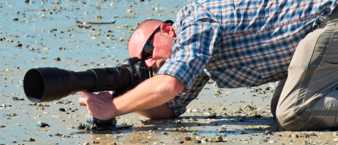 Pictured: Jason Hahn at a Tampa Bay-area beach with Platypod Max for camera support