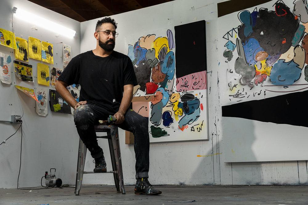 Portrait of artist Jonni Cheatwood in his studio.