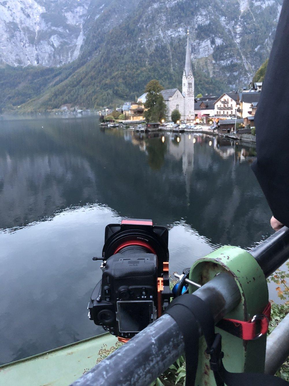 Norway travel photo bts with a platypod tripod