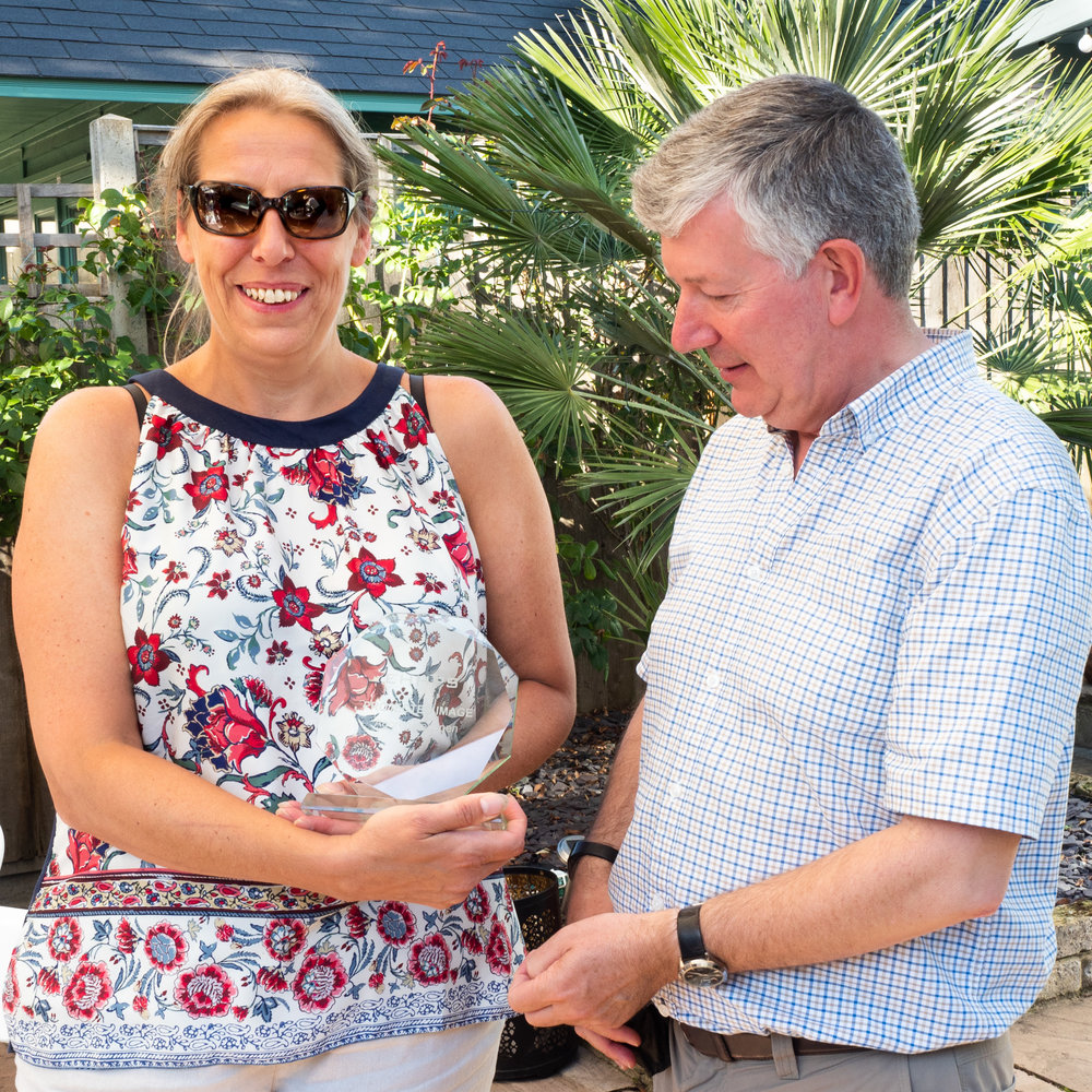 Ania Taylor receives her first trophy from EHHPS President Phil Dean