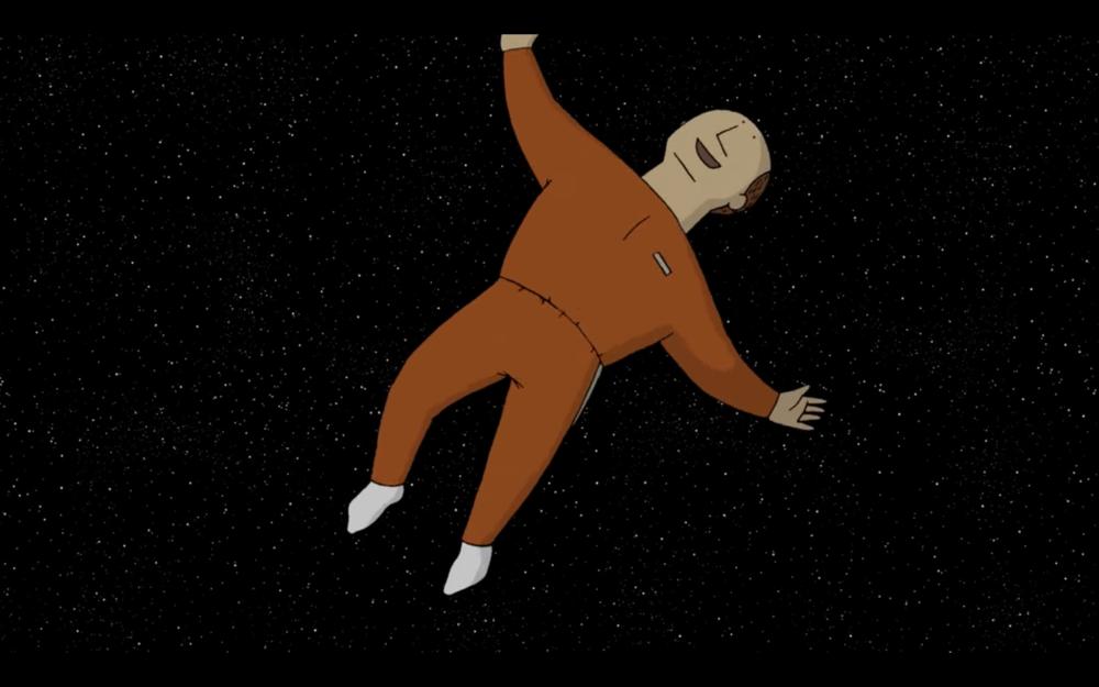 他跳起來,躍入宇宙之中 He jumps into the cosmos.