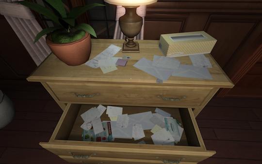 堆滿的信件... 不知從中能否找到一些線索?