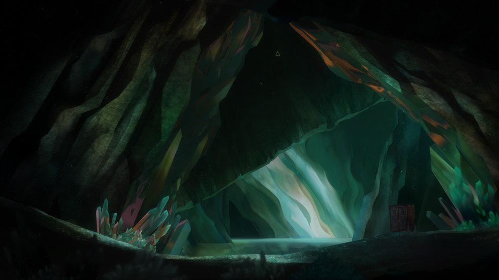 別有洞天的海蝕洞窟,頂部好像有一個三角形狀的東西...?