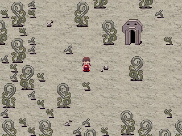蜷曲的蕨類密布於荒野中,前方的門會通往哪裡呢?