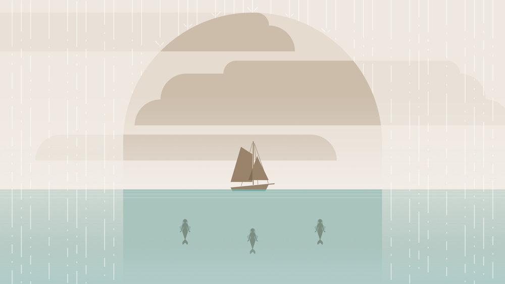 正為傾盆大雨煩惱的三兄弟,沒發現水底下的奇怪影子...