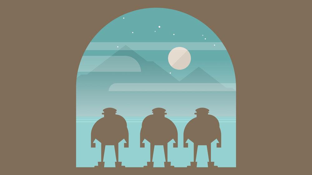 在海洞的出口望著夜晚的明月,這畫面真美不是嗎!