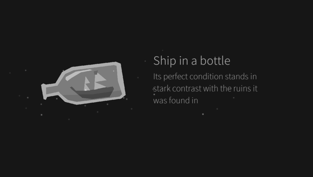 Ship in a bottle: Its perfect condition stands in stark contrast with the ruins it was found in